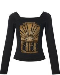 Camiseta de manga larga estampada negra de Biba