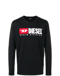 Camiseta de manga larga estampada negra de Diesel