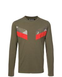 Camiseta de manga larga estampada verde oliva de Neil Barrett
