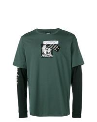 Camiseta de manga larga estampada verde oscuro de Diesel