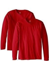 Camiseta de manga larga roja de Hanes