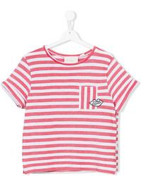 Camiseta de rayas horizontales en blanco y rojo