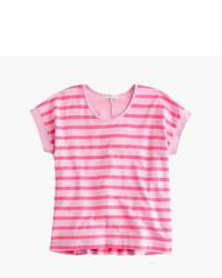 Camiseta de rayas horizontales rosada
