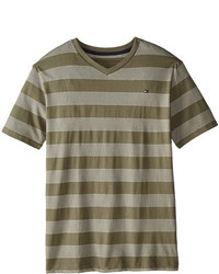 Camiseta de Rayas Horizontales Verde Oliva