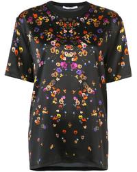 Camiseta de Seda con print de flores Negra de Givenchy