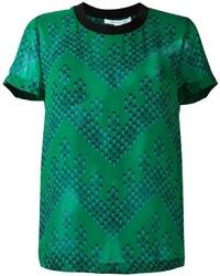 Camiseta de seda estampada verde de Diane von Furstenberg
