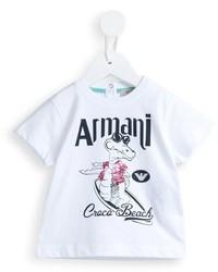 Camiseta estampada blanca de Armani Junior