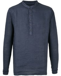 Camiseta henley de manga larga azul marino de 120% Lino