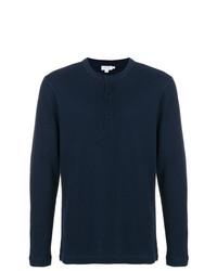 Camiseta henley de manga larga azul marino de Sunspel