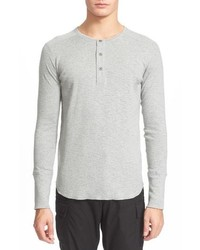 Camiseta henley de manga larga gris