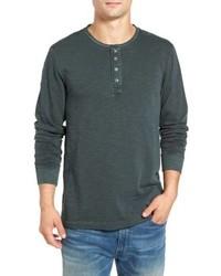 Camiseta henley de manga larga verde oscuro