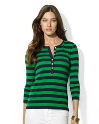 Camiseta henley de rayas horizontales verde