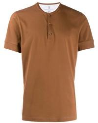Camiseta henley en tabaco de Brunello Cucinelli