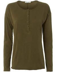 Camiseta henley verde oliva