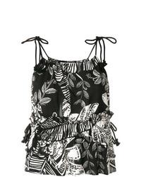 Camiseta sin Manga con print de flores Negra de See by Chloe