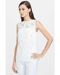 Camiseta sin manga de encaje blanca