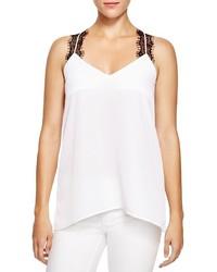 Camiseta sin manga de encaje en blanco y negro