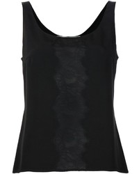 Camiseta sin Manga de Encaje Negra de Carolina Herrera