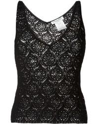 Camiseta sin Manga de Encaje Negra de Christian Dior