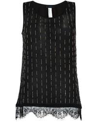Camiseta sin manga de encaje negra de Twin-Set