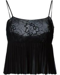 Camiseta sin manga de encaje plisada negra de Chanel