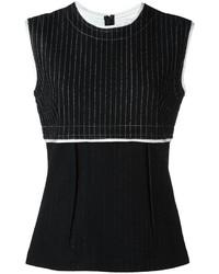 Camiseta sin manga de lana de rayas verticales negra de DKNY
