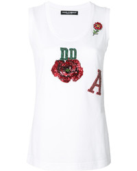 Camiseta sin manga de lentejuelas blanca de Dolce & Gabbana