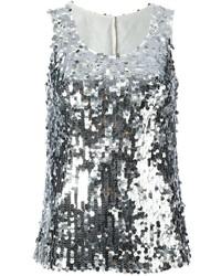 Camiseta sin manga de lentejuelas plateada de Dolce & Gabbana
