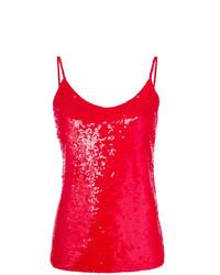Camiseta sin manga de lentejuelas roja de P.A.R.O.S.H.