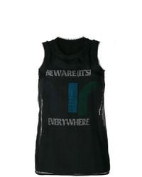 Camiseta sin manga de malla estampada negra de Sacai