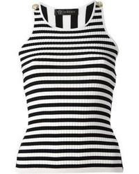 Camiseta sin Manga de Rayas Horizontales en Blanco y Negro de Versace