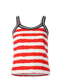 Camiseta sin manga de rayas horizontales en blanco y rojo de MSGM