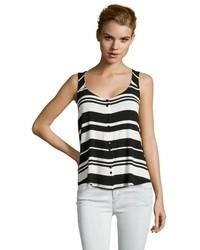 Camiseta sin manga de rayas horizontales en negro y blanco