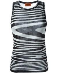 Camiseta sin manga de rayas horizontales en negro y blanco de Missoni
