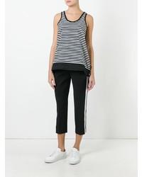 Camiseta sin manga de rayas horizontales en negro y blanco de Moncler
