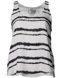 Camiseta sin manga de rayas verticales en blanco y negro de A.L.C.