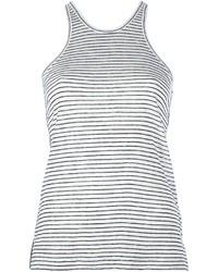 Camiseta sin Manga de Rayas Verticales en Blanco y Negro de Alexander Wang