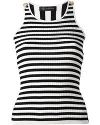 Camiseta sin manga de rayas verticales en blanco y negro de Versace