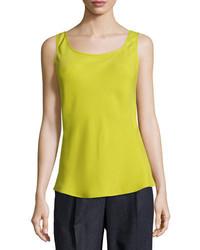 Camiseta sin manga de seda amarilla