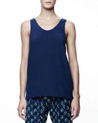 Camiseta sin manga de seda azul marino
