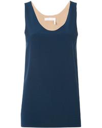 Camiseta sin manga de seda azul marino de Chloé