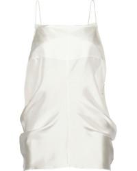 Camiseta sin manga de seda blanca