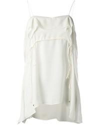 Camiseta sin manga de seda blanca de Roberto Cavalli