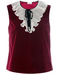 Camiseta sin manga de seda burdeos de RED Valentino