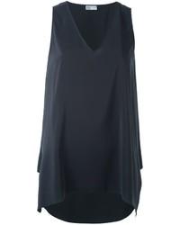 Camiseta sin manga de seda en gris oscuro de Brunello Cucinelli