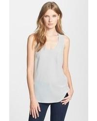 Camiseta sin manga de seda gris
