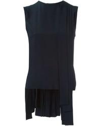 Camiseta sin manga de seda plisada azul marino de Marni