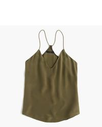 Camiseta sin manga de seda verde oliva