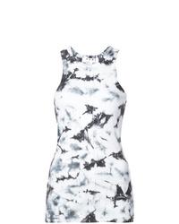 Camiseta sin manga efecto teñido anudado en negro y blanco de Proenza Schouler