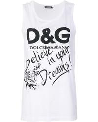 Camiseta sin manga estampada blanca de Dolce & Gabbana